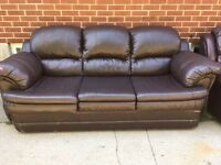 Faux Leather Sofa, Dark Brown