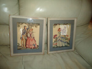 VINTAGE PAIR OF FRAMED PRINTS - MAN AND WOMAN UNDER A TREE