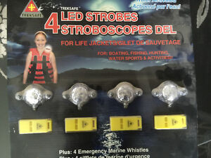 New 4 LED Strobes with 4 Emergency Whistles  For Life Jackets