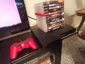 PS3 Slim 320g,14 Games + 1 Red Controller