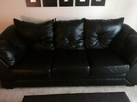Moving sale- maux black leather couch