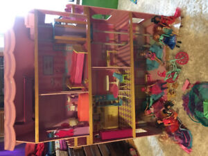 Large Barbie house with furniture, dolls extra