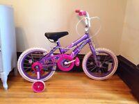 Girls bike with training wheels