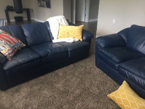 Navy blue leather couch & loveseat