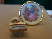 Vintage miniature limoges piano and plate