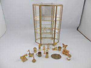 Vintage Brass Glass Curio Wall Cabinet 19 Brass Miniatures Decor