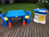 Little Tikes Large Table/2 Chairs and Kitchen Combo Set