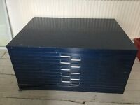 LARGE INDUSTRIAL- LOOK PAINTED STEEL PLAN CHEST