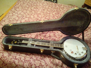Case and banjo and strap and picks