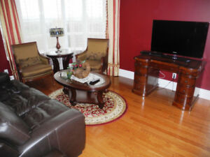 3-bedroom, 3-washroom furnished apartment w balcony & parking