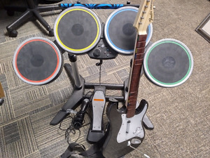 PS3 Rock Band Drum, guitar and mic c/w 2 dongles kit