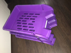 Set of 3 plastic purple office file paper sorting trays stacking