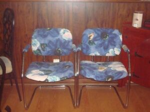 pair of vintage cantilever chrome chairs