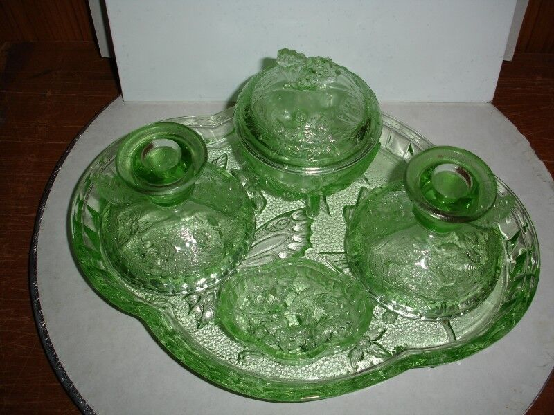 English 1920s Art Deco Green Glass Boudoir Table Trinket Set by Sowerby.