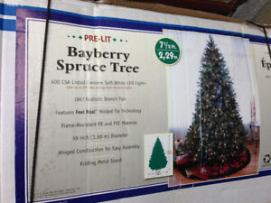 Georgeous Bayberry spruce lighted Christmas tree