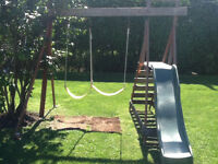 Swing set with slide