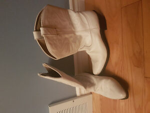 Genuine White Leather Cowboy Boots Size 10