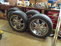 F5 22 inch Chrome Rims with Brand new 305/40 tires.