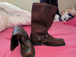 Genuine leather cowboy boots men's
