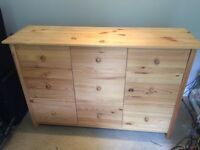 Chest of drawers and a bedside cabinet both pine