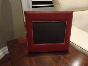 """Real Leather Bound Self Standing 5"""" x7"""" Picture Frame"""