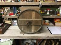 Old Metal Bound Wooden Barrel Butter Churn With Hatched Top