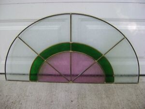 Excellent condition half round stain glass panel