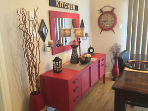 Red storage with mirror solid wood