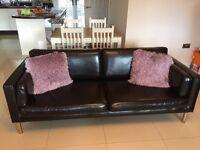 2 Dark Brown Leather Sofa's (like new)