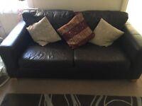 Faux leather 3 seater sofa