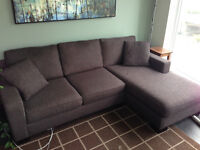 Solid detachable L section sofa and chaise lounge