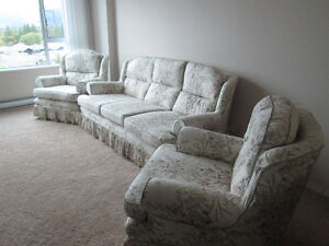 COUCH AND TWO ARM CHAIRS