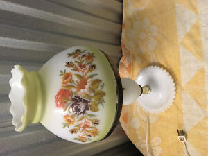 2 vtg porcelain table lamps & hobnail milk glass lamp