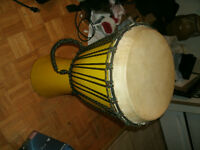 large Djembe drum, with handle and meshing