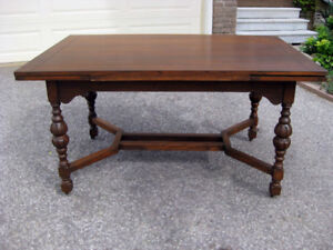 Antique Refinished Oak Draw Leaf /Trestle Table, Chairs