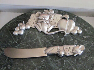 Heavy Green Marble + Pewter Cheese Tray, 6 Signs, Knife in Box Oakville / Halton Region Toronto (GTA) image 3