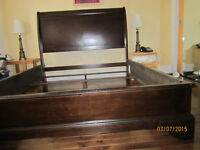 Urgent SALE:New Leather Couch,New Wood bed,Lamp$75,Dell-19-$25..