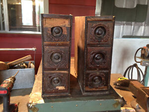 Fire place mantle ,oil cans, Old car wheels,Drawers,Andy War