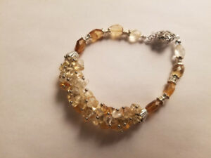 Hand made bracelets with genuine yellow quartz
