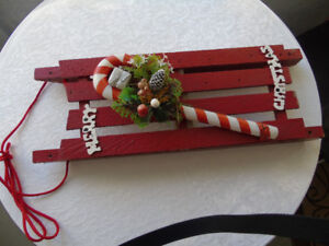 WOODEN SLEIGH , DECORATING FOR CHRISTMAS