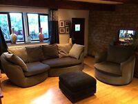 Charcoal Grey Corner Sofa, Armchair + Footrest Excellent Condition
