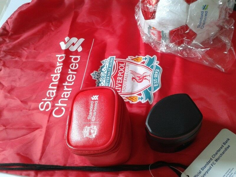 Liverpool FC Club merchandise: Ball, Bag and Multi Nation Travel Adapter