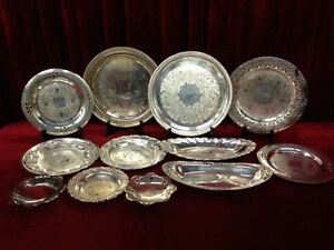 SILVER PLATED TRAY LOT - ALL 12 FOR $80