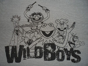 "MUPPET ""WILD BOYS"" T-SHIRT, KERMIT, ANIMAL, GONZO & MORE, ""L"""
