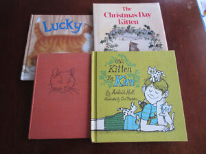 4 Books all about cats/kittens - Lucky, Christmas kitten etc...