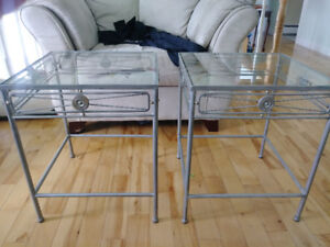 Glass top end tables and solid metal frame
