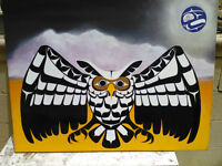 Owl with a Blue Moon ( Protectors of mother earth at night )