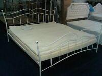 EX DEMO. 6ft Super King size white metal bed frame, bedstead, traditional frame