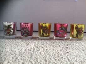 Ed hardy tea lights and holders X 5