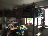Fantastic children's metal high sleeper bed solid wood ends and steps